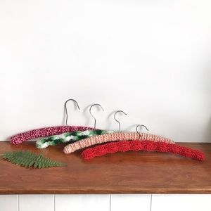 Vintage Crochet Covered Wood Hangers - Lot of 4
